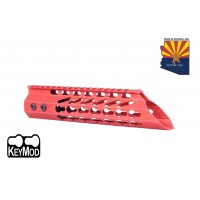 "9"" ULTRA SLIMLINE OCTAGONAL 5 SIDED KEY MOD FREE FLOATING HANDGUARD WITH SLANT NOSE (RED)"