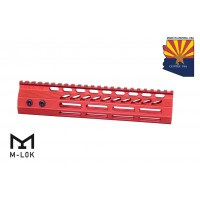"9"" ULTRA SLIMLINE OCTAGONAL 5 SIDED M-LOK FREE FLOATING HANDGUARD WITH MONOLITHIC TOP RAIL (RED)"