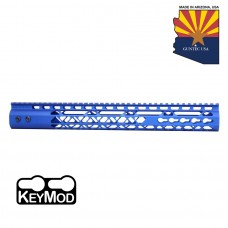 """15"""" AIR LITE KEYMOD FREE FLOATING HANDGUARD WITH MONOLITHIC TOP RAIL (ANODIZED BLUE)"""