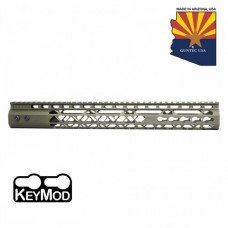 """15"""" AIR LITE KEYMOD FREE FLOATING HANDGUARD WITH MONOLITHIC TOP RAIL (ANODIZED GREEN)"""