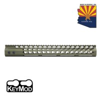 "15"" ULTRA LIGHTWEIGHT THIN KEY MOD FREE FLOATING HANDGUARD WITH MONOLITHIC TOP RAIL (ANODIZED GREEN)"