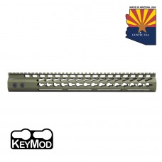 """15"""" ULTRA LIGHTWEIGHT THIN KEY MOD FREE FLOATING HANDGUARD WITH MONOLITHIC TOP RAIL (ANODIZED GREEN)"""