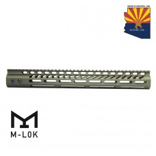 "15"" ULTRA LIGHTWEIGHT THIN M-LOK SYSTEM FREE FLOATING HANDGUARD WITH MONOLITHIC TOP RAIL (ANODIZED GREEN)"