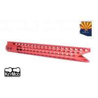"16.5"" ULTRA SLIMLINE OCTAGONAL 5 SIDED KEY MOD FREE FLOATING HANDGUARD WITH ""SHARK MOUTH "" CUT (RED)"