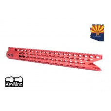 """16.5"""" ULTRA SLIMLINE OCTAGONAL 5 SIDED KEY MOD FREE FLOATING HANDGUARD WITH """"SHARK MOUTH """" CUT (RED)"""