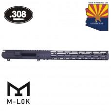 AR .308 Cal Stripped Billet Upper Receiver & 15″ Mod Lite Skeletonized Series M-LOK Handguard Combo Set (Anodized Black)