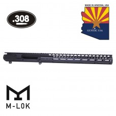 AR .308 Cal Stripped Billet Upper Receiver & 15″ Ultralight Series M-LOK Handguard Combo Set (Anodized Black)