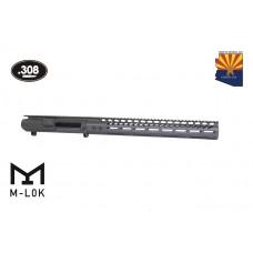 AR .308 Cal Stripped Billet Upper Receiver & 15″ Ultralight Series M-LOK Handguard Combo Set (OD Green)