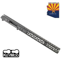 "AR15 STRIPPED BILLET UPPER RECEIVER & 15"" AIR LITE SERIES KEYMOD HANDGUARD COMBO SET (SNIPER GREY)"