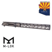 "AR15 STRIPPED BILLET UPPER RECEIVER & 15"" MOD LITE SKELETONIZED SERIES M-LOK HANDGUARD COMBO SET (BATTLEWORN FDE FINISH)"