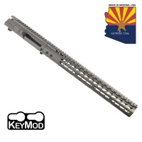 "AR15 STRIPPED BILLET UPPER RECEIVER & 15"" ULTRALIGHT SERIES KEYMOD HANDGUARD COMBO SET (SNIPER GREY)"
