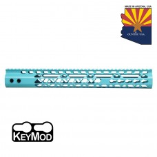 """15"""" AIR LITE KEYMOD FREE FLOATING HANDGUARD WITH MONOLITHIC TOP RAIL (BABY BLUE)"""