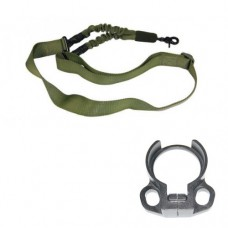 ONE POINT BUNGEE SLING WITH QD SNAP HOOK & QD AMBI BOLT ON SLING ADAPTER COMBO KIT (OD GREEN)